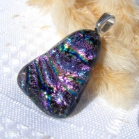 Triangular Shaped Dichroic Glass Necklace Pendant