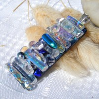 Blue Gold Layered Handmade Dichroic Glass Pendant