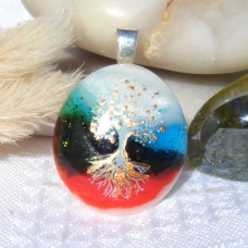 Shimmering Tree of Life  Glass Pendant Necklace Jewellery