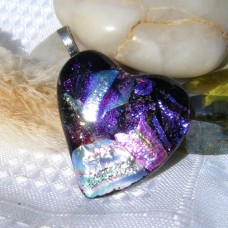 Blue Purple Silver Heart Dichroic Glass Pendant