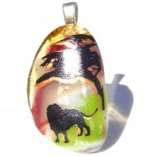 Jungle Lion Glass Pendant Necklace Jewellery