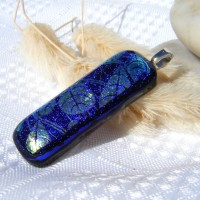 Blue Gold Etched Handmade Dichroic Glass Pendant