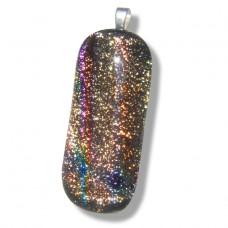 Golden Glisten Rainbow Handmade Dichroic Pendant