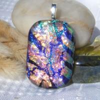 Blue Cerise Gold Stripey Dichroic Glass Pendant Jewellery