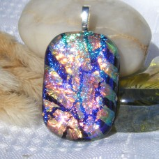 Blue Cerise Gold Stripey Dichroic Glass Pendant Jewellery