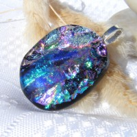 Cerise Purple Blue Dichroic glass Pendant Necklace Jewellery
