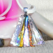 Multi 11 Fan Handmade Dichroic Glass Pendant