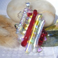 Red Gold Silver Oval Dichroic Glass Pendant