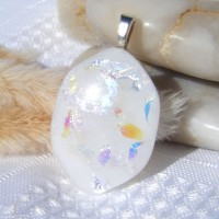 Snowy Hexagonal Dichroic Glass Necklace Pendant