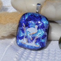 Flamingo Dichroic Glass Pendant Necklace Jewellery
