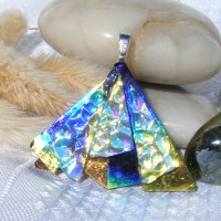 Blue Gold Rainbow Fan Dichroic Glass Pendant