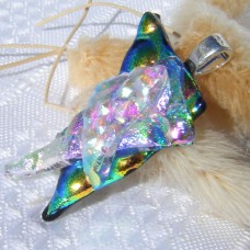 Stacked Blue Green Rainbow Triangles Handmade Pendant