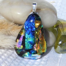 Blue Gold Teardrop Dichroic Glass Pendant