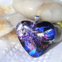 Blue Purple Silver chunky Heart Dichroic Pendant