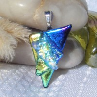 Small Green Gold Blue Triangle Dichroic Pendant