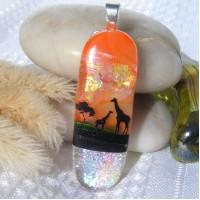 Giraffe Dichroic Glass Pendant Necklace Jewellery
