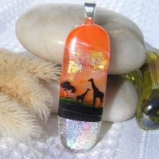 Giraffe Dichroic Glass Pendant Necklace Jewellery