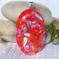 Sparkly Red Gold Multi Oval Dichroic Necklace