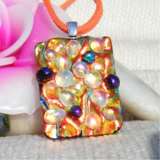 Bubbles Galore Dichroic Glass Pendant Handmade Necklace