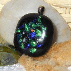 Forest Greenery Dichroic Pendant Necklace