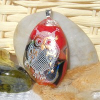 Red White Teardrop Gold Accent Owl Dichroic Pendant