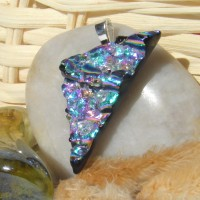 Shimmering Sparkling Triangle Handmade Dichroic Glass Pendant