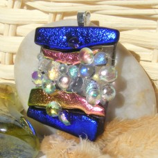 Contemporary Bubbles Handmade Dichroic Glass Pendant