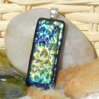 Blue Gold Patterned Handmade Dichroic Glass Pendant