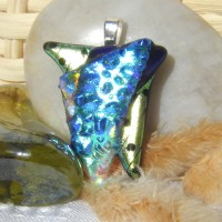 Stacked Blue Green Texture Triangles Handmade Pendant