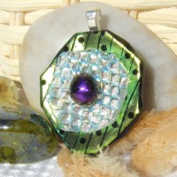 Pretty Green Flower Handmade Dichroic Pendant