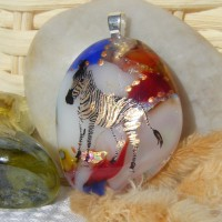 Zebra Gold Accented Dichroic Glass Pendant