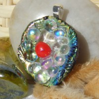 Pretty Bubble Flower Handmade Dichroic Pendant