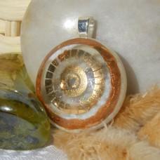 Cosmic Gold Circle Handmade Dichroic Glass Pendant