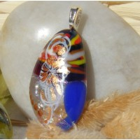 Underwater Plant Gold Accented Dichroic Glass Pendant