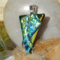 Stacked Blue Yellow Texture Triangles Handmade Pendant