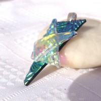 Stacked Blue Gold Triangle Handmade Dichroic Pendant
