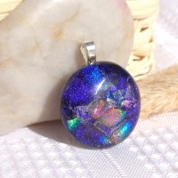 Stella Universe -  Fused Glass Handmade Dichroic Pendant - Blue Pink Gold Red