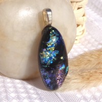 Hubble's Universe.  Fused Glass Handmade Dichroic Pendant.  Multi-coloured Eye Shaped