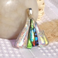 Stacked Triangle Dichroic Fused Glass Pendant