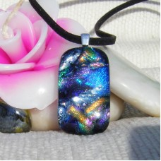 Multi 7 on Black Handmade Dichroic Glass Pendant
