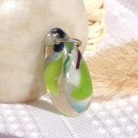 Green Brown Organic Dichroic Fused Glass Pendant