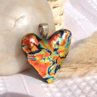 Fiery Red Heart Handmade Fused Dichroic Glass Pendant. Red Gold Orange Blue