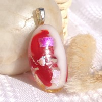 Red White and Silver Dichroic Fused Glass Oval Pendant