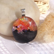 Martian Sunset Inspired Dichroic Fused Glass Pendant.