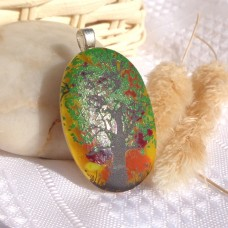 Tree of Life Sunset Dichroic Fused Glass Pendant