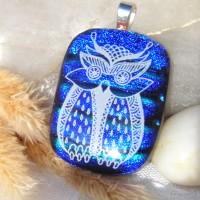 Fused Glass Handmade Dichroic Pendant - Blue Night Owl