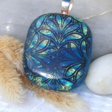 Fused Glass Handmade Dichroic Pendant - Green Stained Glass Window