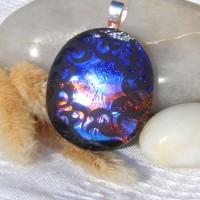 Fused Glass Handmade Dichroic Pendant - Copper Blue Celtic Circle