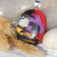 Fused Glass Handmade Dichroic Pendant - Mother and Baby Bear