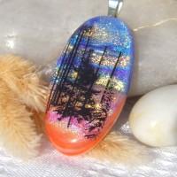 Fused Glass Handmade Dichroic Pendant - Stunning Sunset Trees